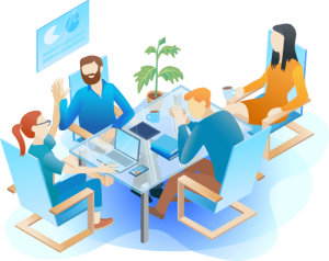 marketing team meeting graphic